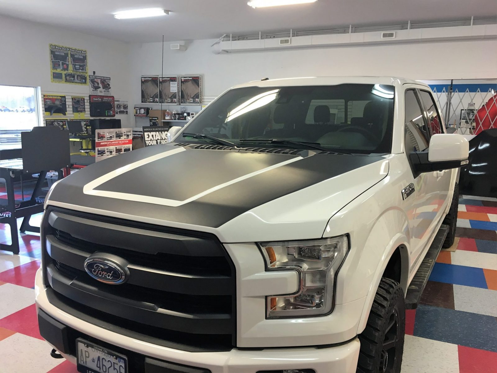 Custom Flat Black hood graphic F150